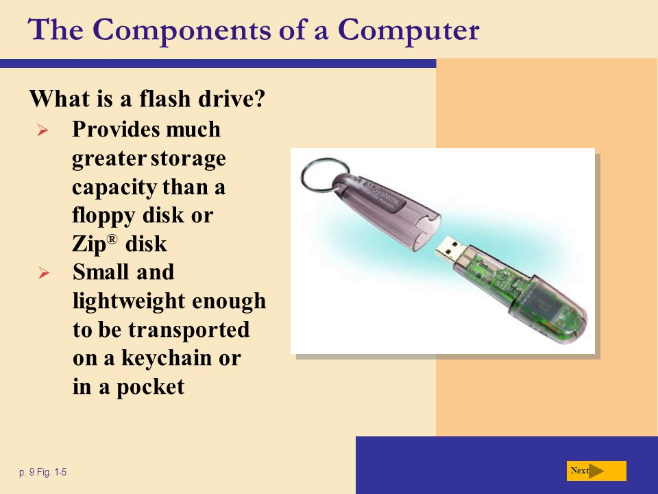 The Components of a Computer What is a flash drive? p. 9 Fig. 1-5 Next  Provides much greater storage capacity than a floppy disk or Zip ® disk  Sma