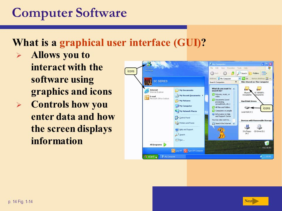 Computer Software What is a graphical user interface (GUI)? p. 14 Fig. 1-14 Next  Allows you to interact with the software using graphics and icons 