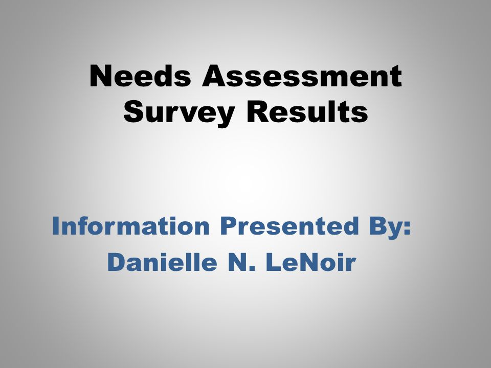 Needs Assessment Survey Results Information Presented By: Danielle N. LeNoir