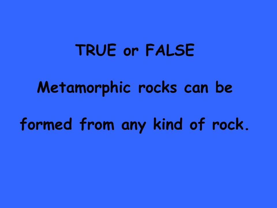 TRUE or FALSE Metamorphic rocks can be formed from any kind of rock.