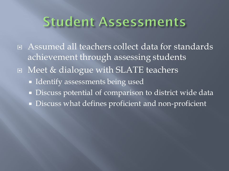  Assumed all teachers collect data for standards achievement through assessing students  Meet & dialogue with SLATE teachers  Identify assessments being used  Discuss potential of comparison to district wide data  Discuss what defines proficient and non-proficient