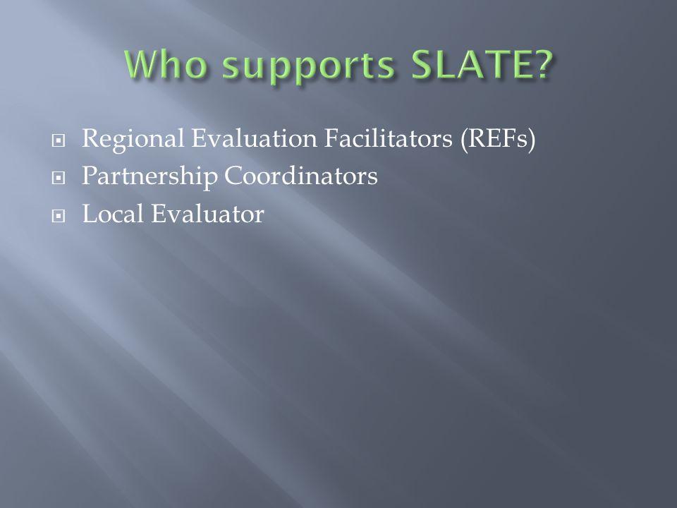  Regional Evaluation Facilitators (REFs)  Partnership Coordinators  Local Evaluator