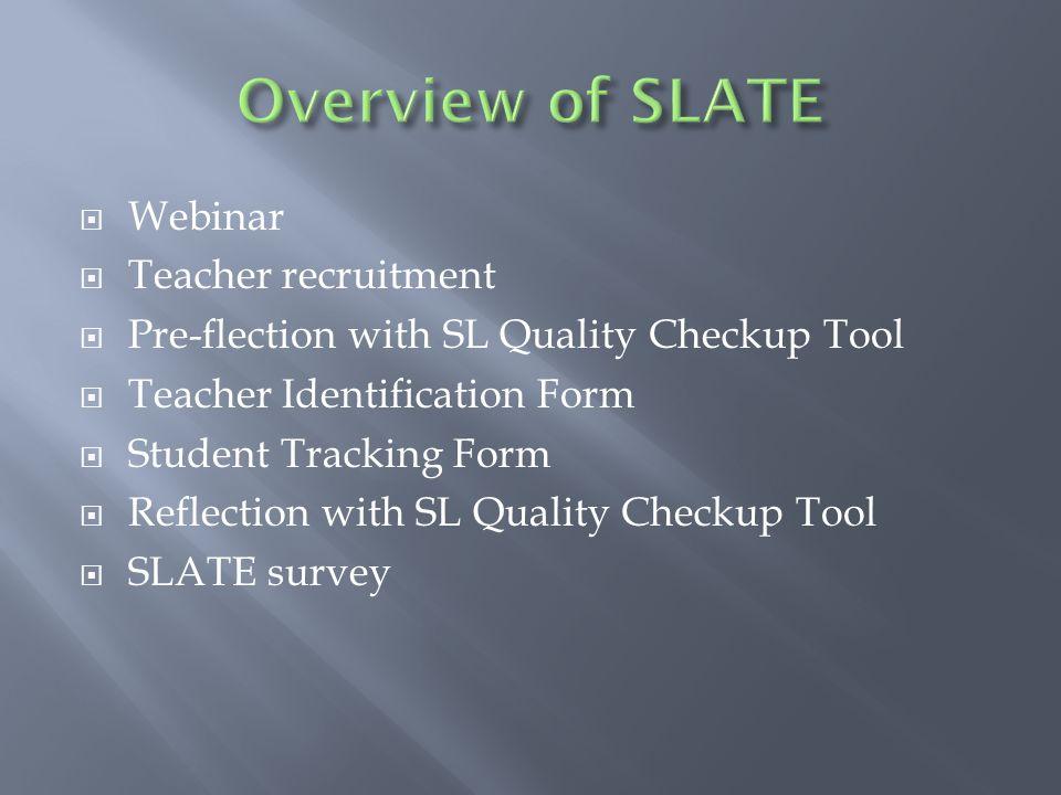  Webinar  Teacher recruitment  Pre-flection with SL Quality Checkup Tool  Teacher Identification Form  Student Tracking Form  Reflection with SL Quality Checkup Tool  SLATE survey