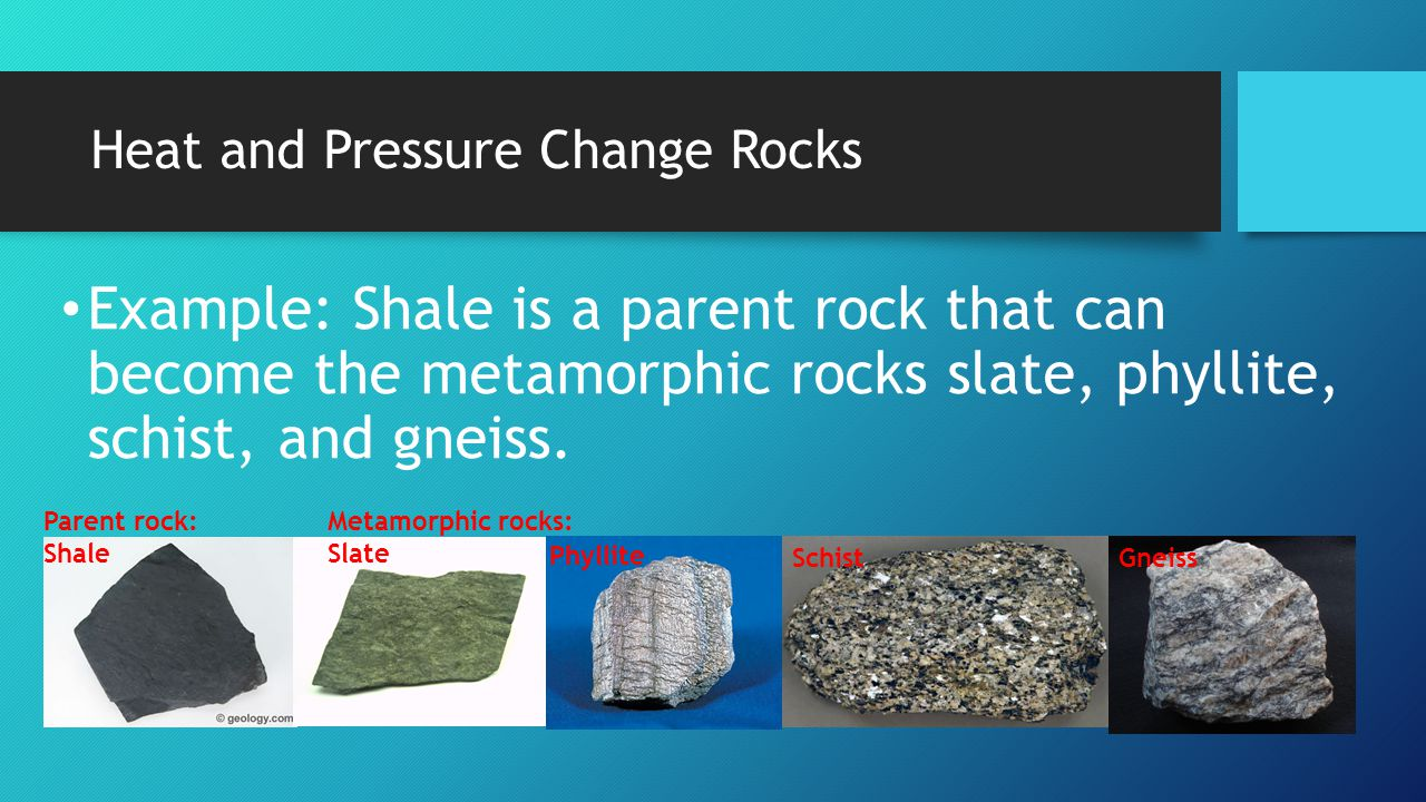 Heat and Pressure Change Rocks Example: Shale is a parent rock that can become the metamorphic rocks slate, phyllite, schist, and gneiss. Parent rock: