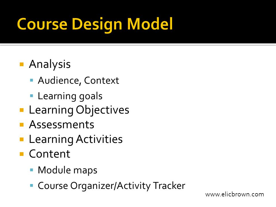 www.elicbrown.com  Analysis  Audience, Context  Learning goals  Learning Objectives  Assessments  Learning Activities  Content  Module maps 