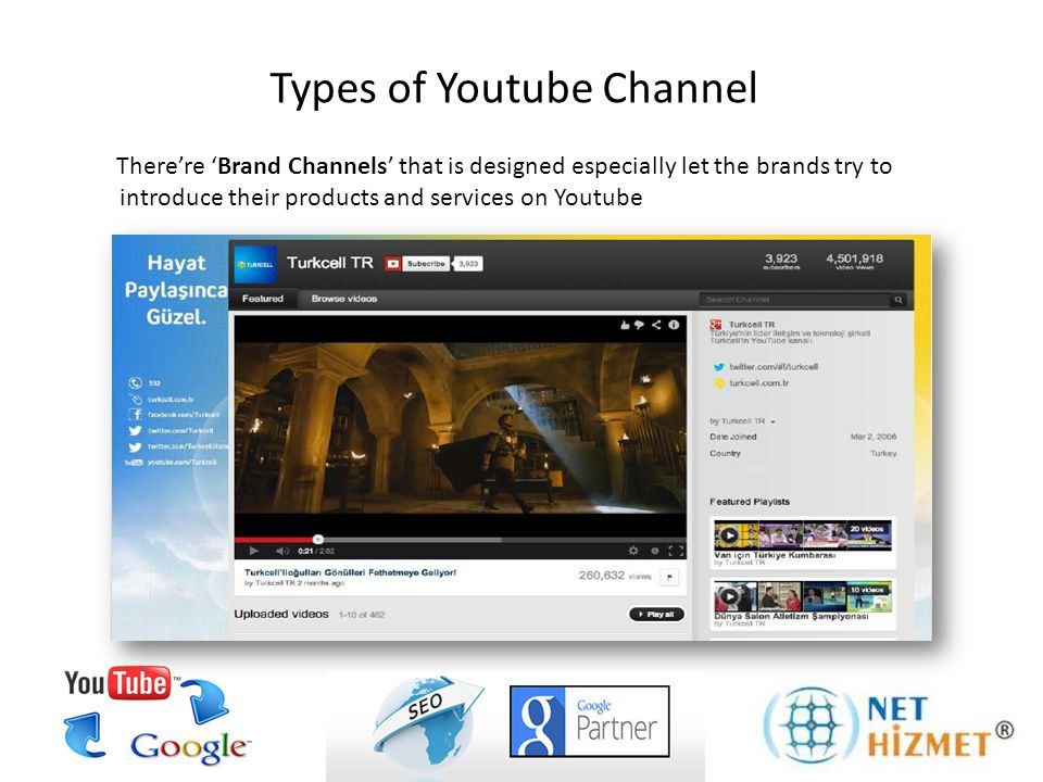 Types of Youtube Channel There're 'Brand Channels' that is designed especially let the brands try to introduce their products and services on Youtube