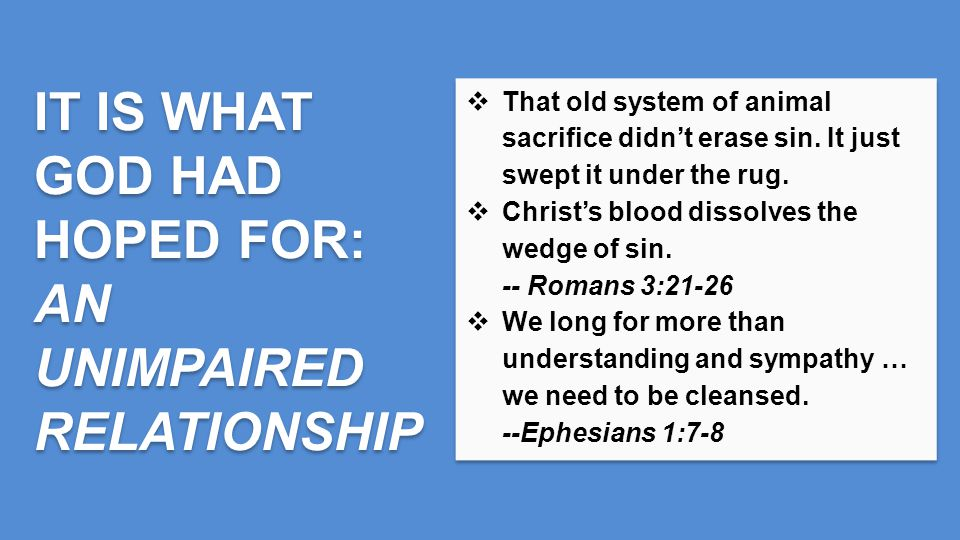  That old system of animal sacrifice didn't erase sin.