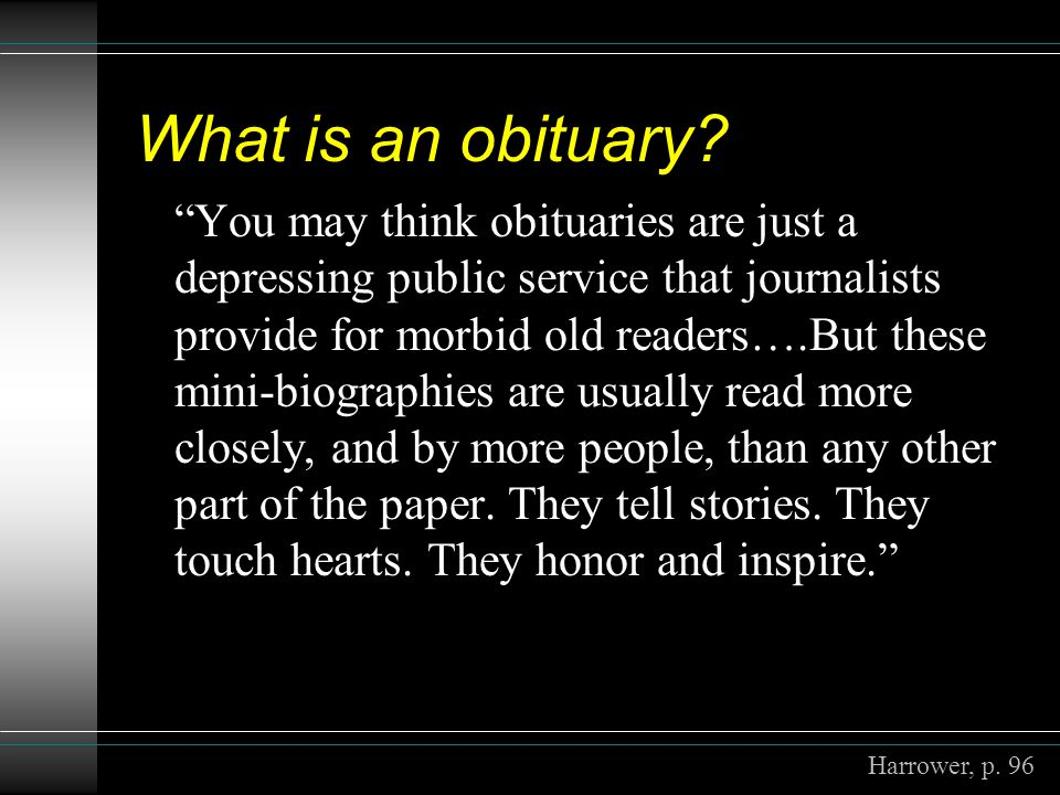 What is an obituary.