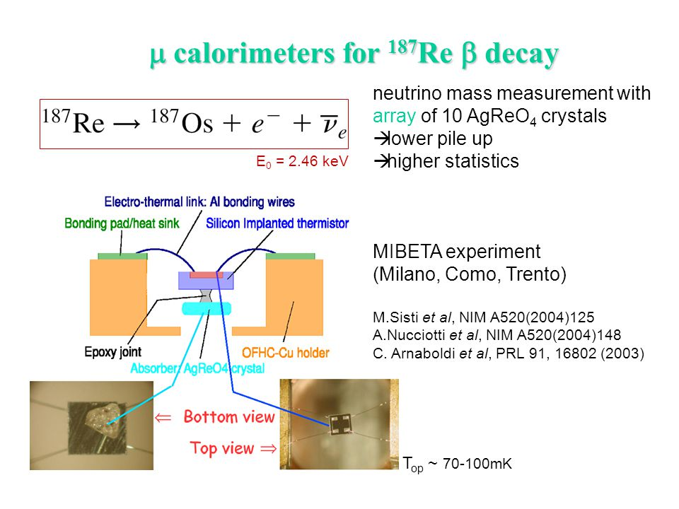  calorimeters for 187 Re  decay neutrino mass measurement with array of 10 AgReO 4 crystals  lower pile up  higher statistics MIBETA experiment (M