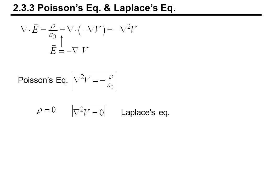 2.3.3 Poisson's Eq. & Laplace's Eq. Laplace's eq. Poisson's Eq.
