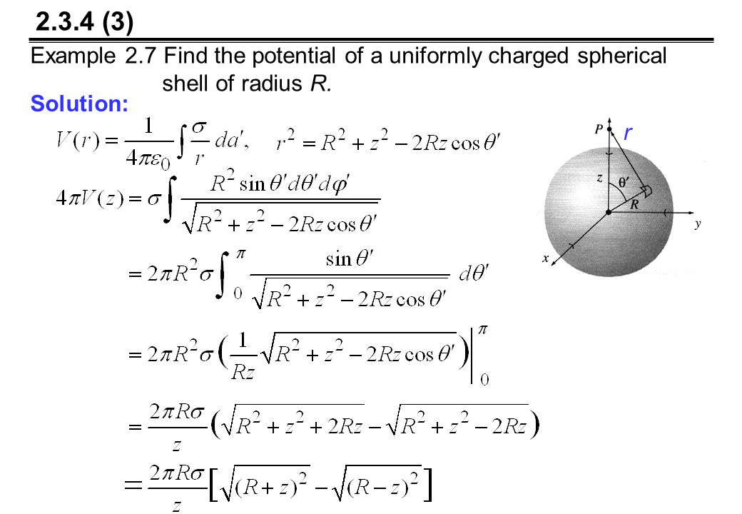 2.3.4 (3) Example 2.7 Find the potential of a uniformly charged spherical shell of radius R.