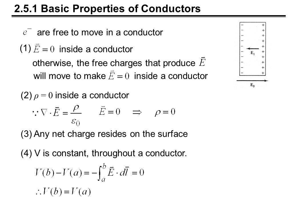 2.5.1 Basic Properties of Conductors are free to move in a conductor otherwise, the free charges that produce will move to makeinside a conductor (1) (2) ρ = 0 inside a conductor (3) Any net charge resides on the surface (4) V is constant, throughout a conductor.
