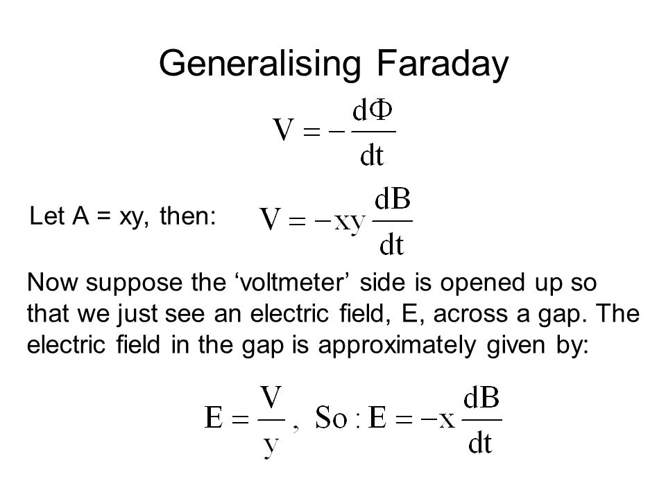 Generalising Faraday Let A = xy, then: Now suppose the 'voltmeter' side is opened up so that we just see an electric field, E, across a gap. The elect