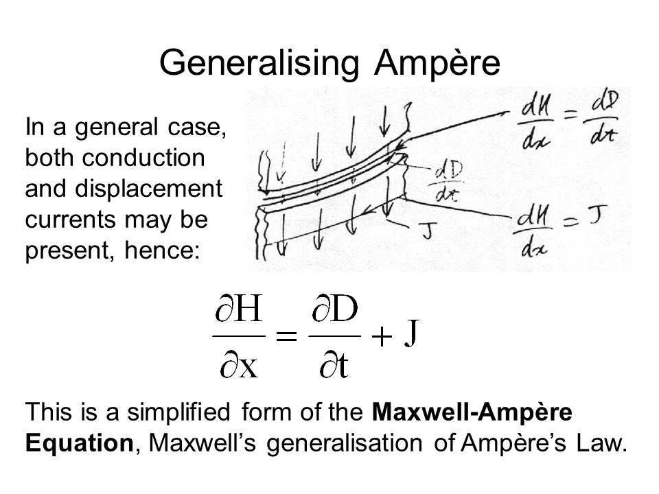 Generalising Ampère In a general case, both conduction and displacement currents may be present, hence: This is a simplified form of the Maxwell-Ampère Equation, Maxwell's generalisation of Ampère's Law.