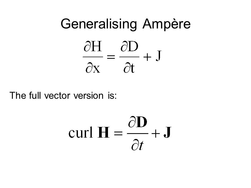 Generalising Ampère The full vector version is: