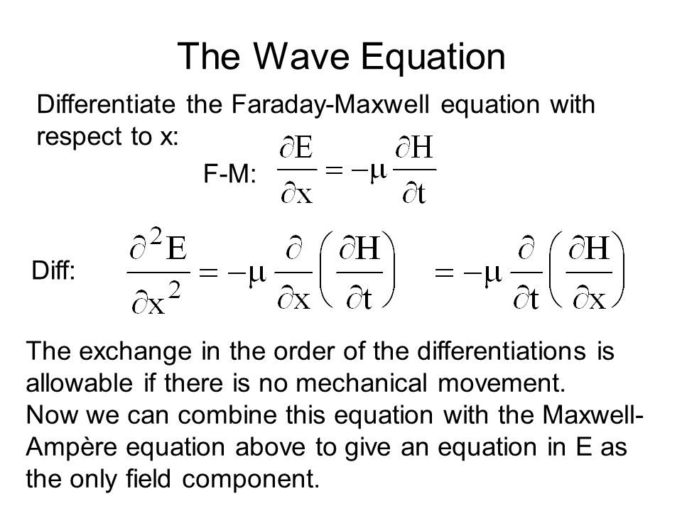 The Wave Equation Diff: Differentiate the Faraday-Maxwell equation with respect to x: F-M: The exchange in the order of the differentiations is allowable if there is no mechanical movement.