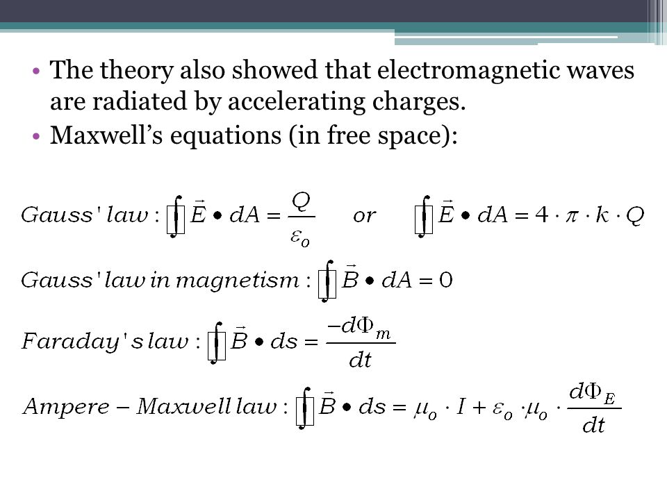 The theory also showed that electromagnetic waves are radiated by accelerating charges. Maxwell's equations (in free space):