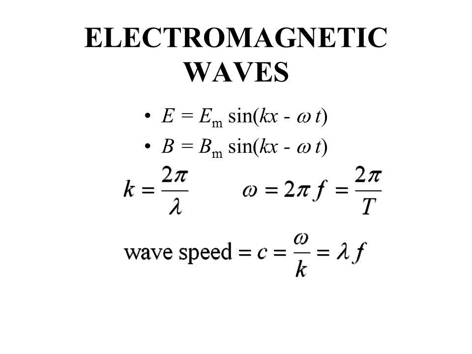 ELECTROMAGNETIC WAVES E = E m sin(kx -  t) B = B m sin(kx -  t)