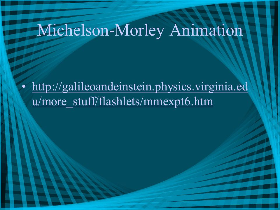 Michelson-Morley Animation http://galileoandeinstein.physics.virginia.ed u/more_stuff/flashlets/mmexpt6.htmhttp://galileoandeinstein.physics.virginia.ed u/more_stuff/flashlets/mmexpt6.htm