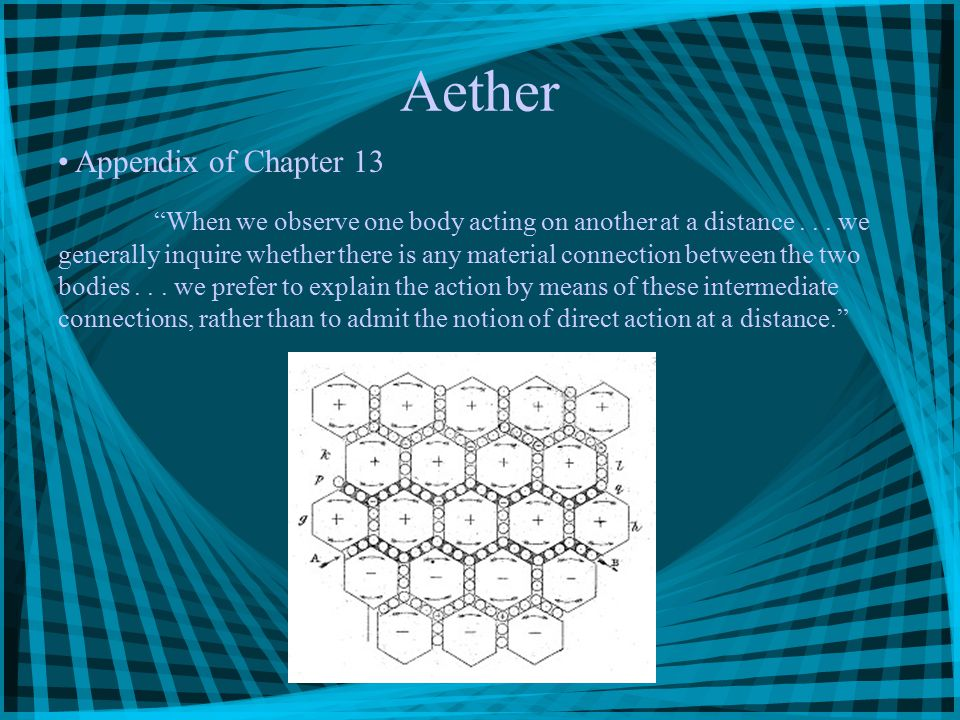 "Aether Appendix of Chapter 13 ""When we observe one body acting on another at a distance... we generally inquire whether there is any material connecti"