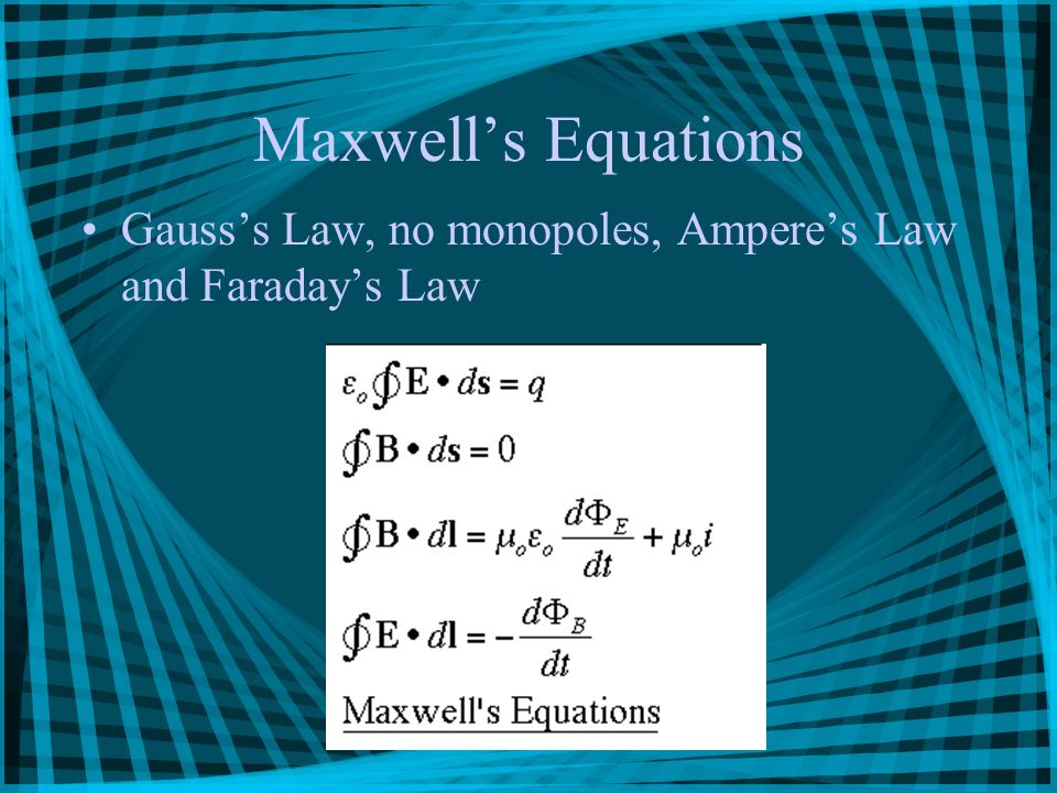 Maxwell's Equations Gauss's Law, no monopoles, Ampere's Law and Faraday's Law