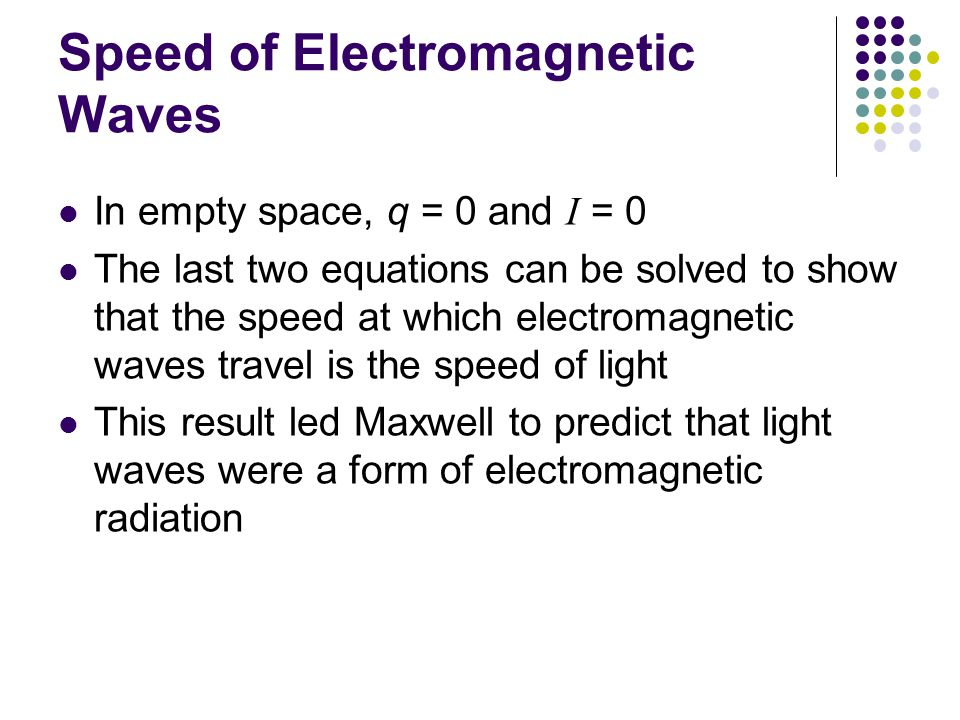 Speed of Electromagnetic Waves In empty space, q = 0 and I = 0 The last two equations can be solved to show that the speed at which electromagnetic waves travel is the speed of light This result led Maxwell to predict that light waves were a form of electromagnetic radiation