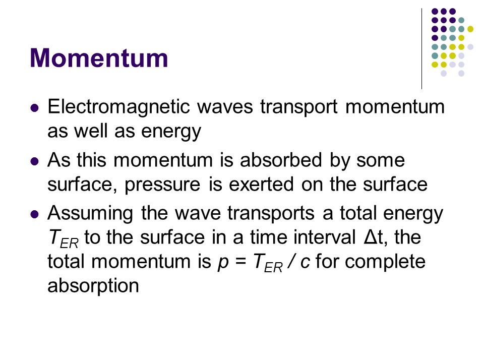 Momentum Electromagnetic waves transport momentum as well as energy As this momentum is absorbed by some surface, pressure is exerted on the surface Assuming the wave transports a total energy T ER to the surface in a time interval Δt, the total momentum is p = T ER / c for complete absorption