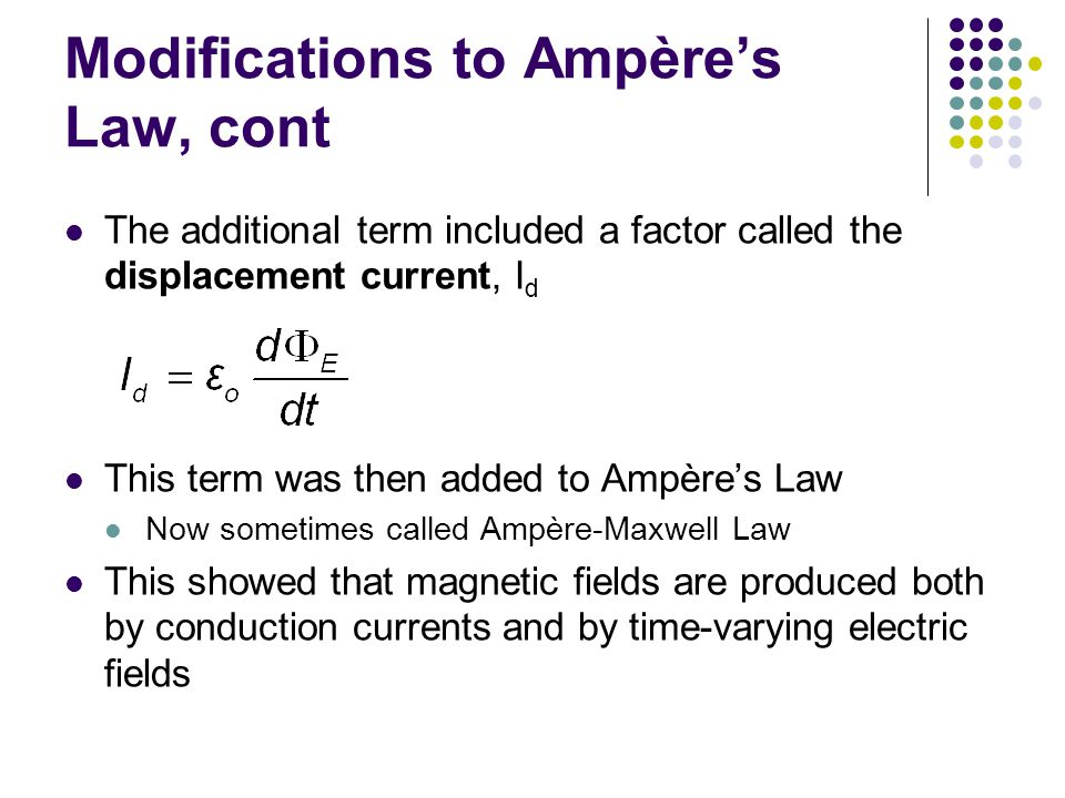 Modifications to Ampère's Law, cont The additional term included a factor called the displacement current, I d This term was then added to Ampère's Law Now sometimes called Ampère-Maxwell Law This showed that magnetic fields are produced both by conduction currents and by time-varying electric fields