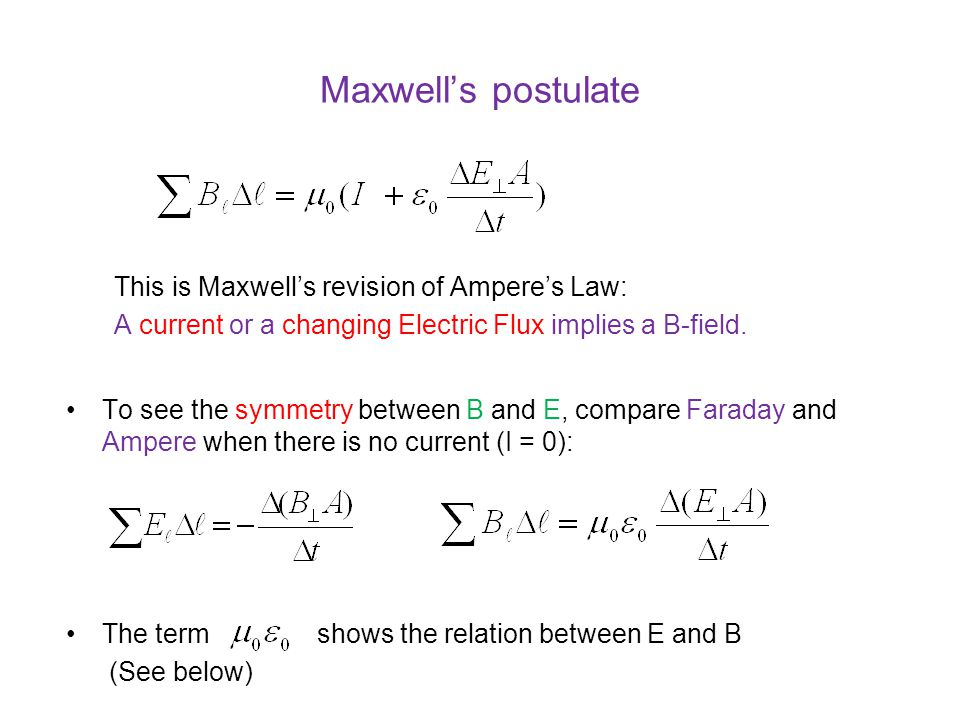 Maxwell's postulate This is Maxwell's revision of Ampere's Law: A current or a changing Electric Flux implies a B-field.