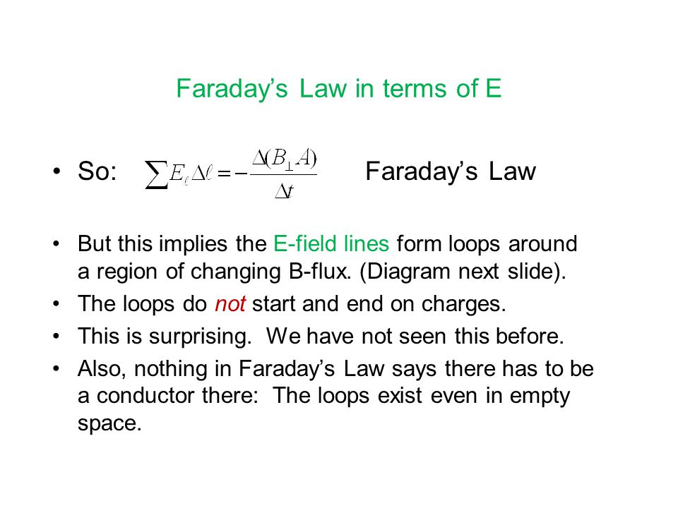 Faraday's Law in terms of E So: Faraday's Law But this implies the E-field lines form loops around a region of changing B-flux.