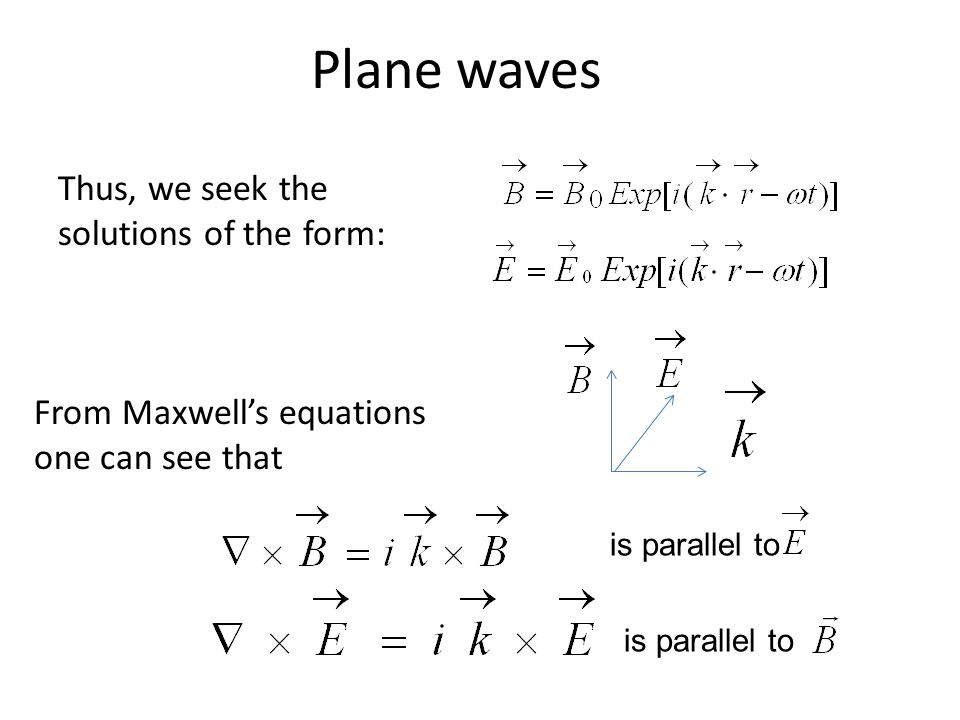 Plane waves is parallel to Thus, we seek the solutions of the form: From Maxwell's equations one can see that