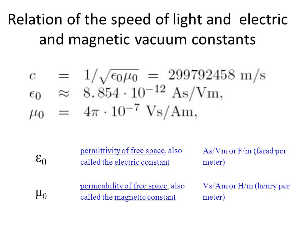 Relation of the speed of light and electric and magnetic vacuum constants ε0 ε0 permittivity of free spacepermittivity of free space, also called the