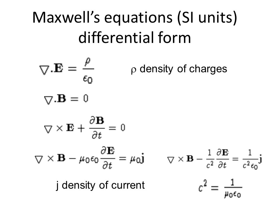 Maxwell's equations (SI units) differential form  density of charges j density of current