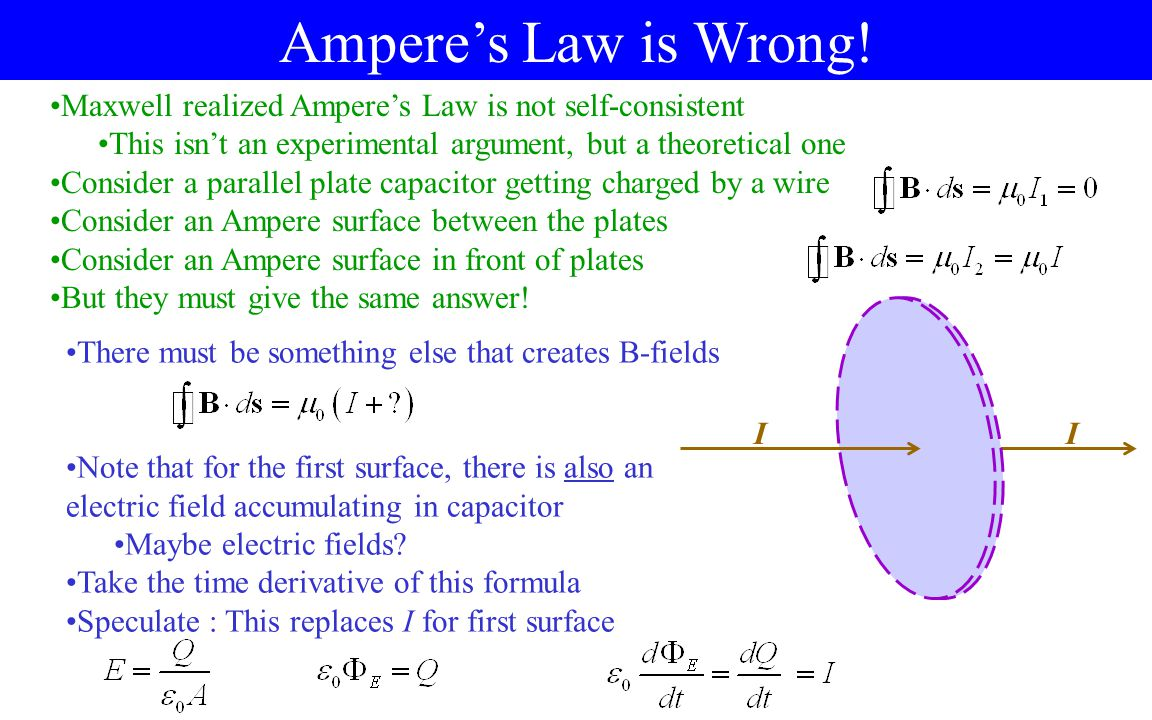 Ampere's Law is Wrong! Maxwell realized Ampere's Law is not self-consistent This isn't an experimental argument, but a theoretical one Consider a para