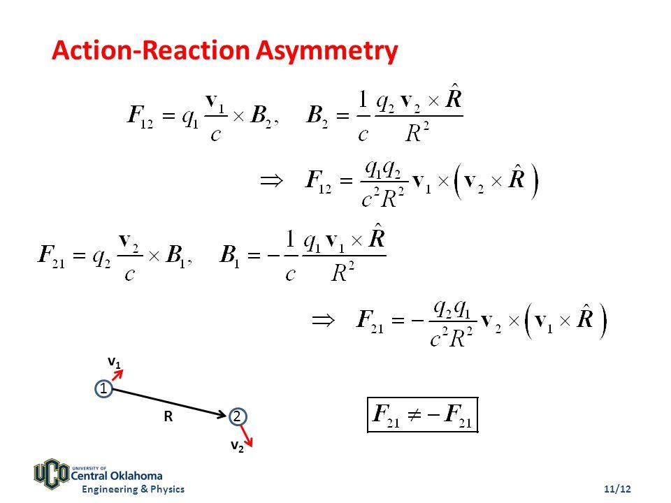 Action-Reaction Asymmetry 1 2R v1v1 v2v2 Engineering & Physics11/12