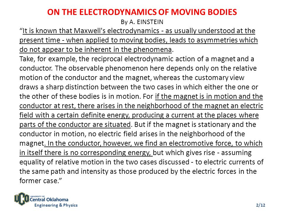 ON THE ELECTRODYNAMICS OF MOVING BODIES By A.