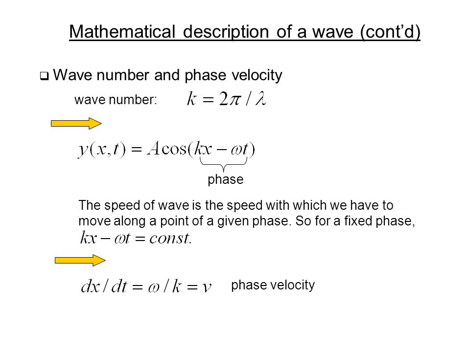 Mathematical description of a wave (cont'd)  Wave number and phase velocity wave number: The speed of wave is the speed with which we have to move along a point of a given phase.