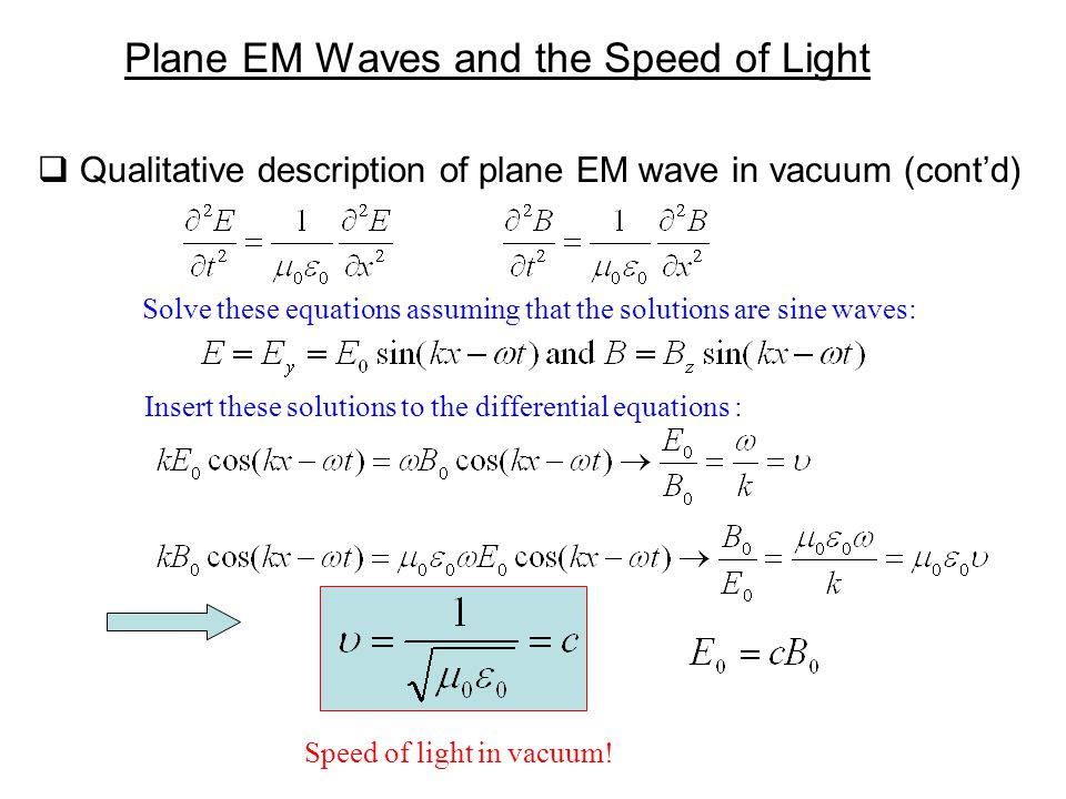  Qualitative description of plane EM wave in vacuum (cont'd) Plane EM Waves and the Speed of Light Solve these equations assuming that the solutions