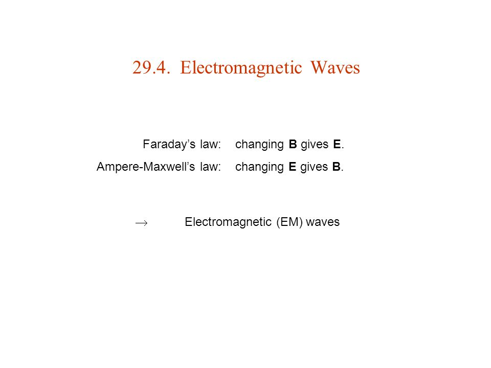 29.4. Electromagnetic Waves  Electromagnetic (EM) waves Faraday's law: Ampere-Maxwell's law: changing B gives E. changing E gives B.