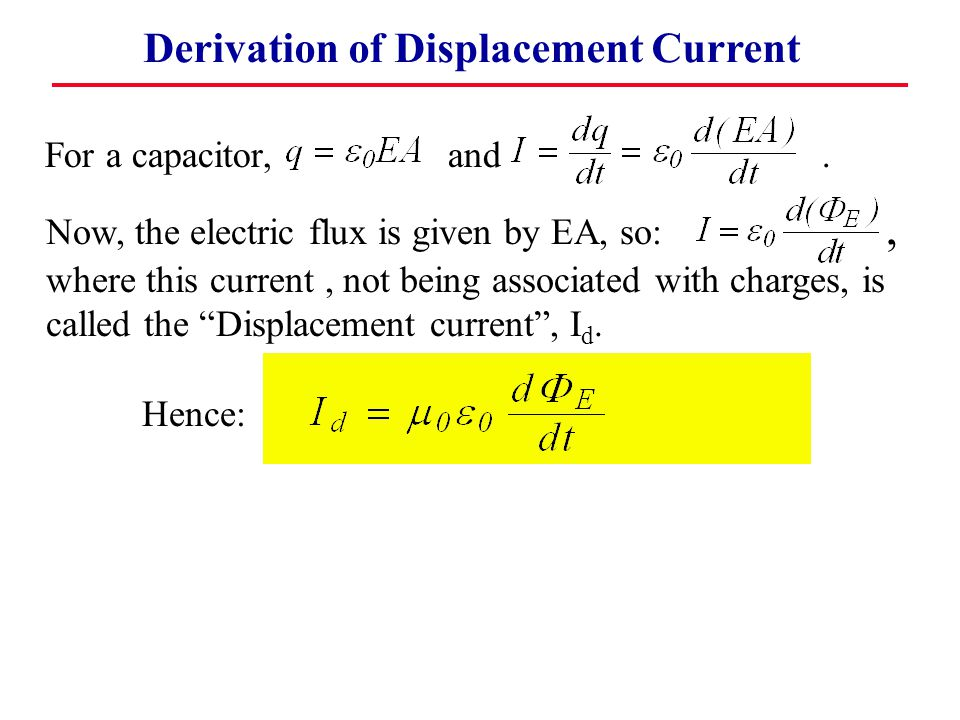 Derivation of Displacement Current For a capacitor, and.