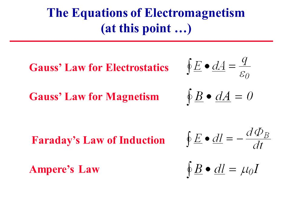 The Equations of Electromagnetism (at this point …) Gauss' Law for Electrostatics Gauss' Law for Magnetism Faraday's Law of Induction Ampere's Law