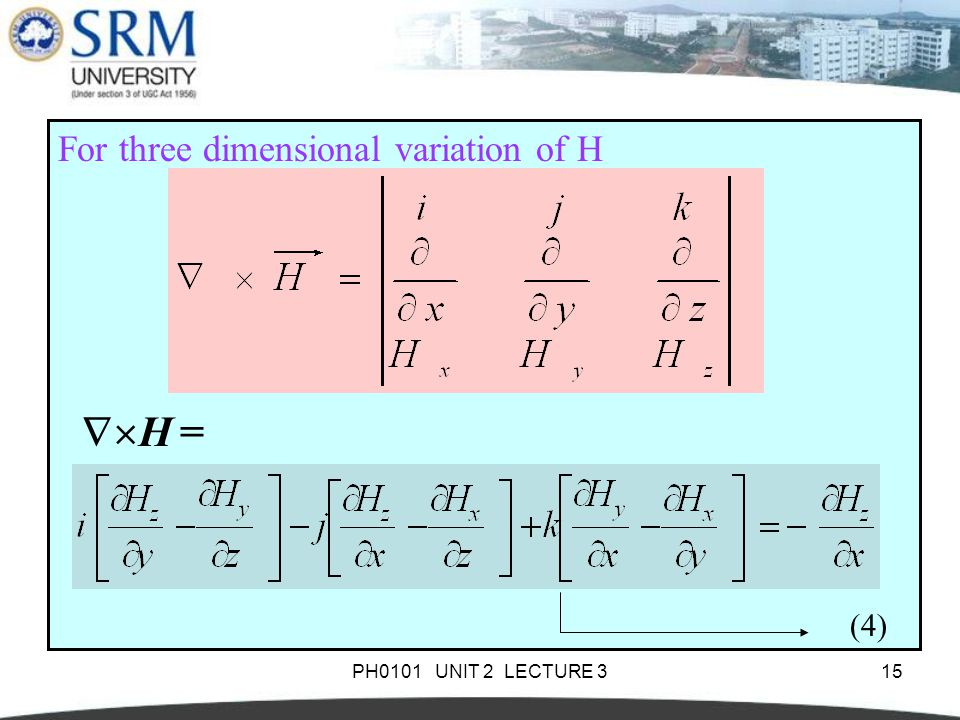 PH0101 UNIT 2 LECTURE 315 For three dimensional variation of H  H = (4)