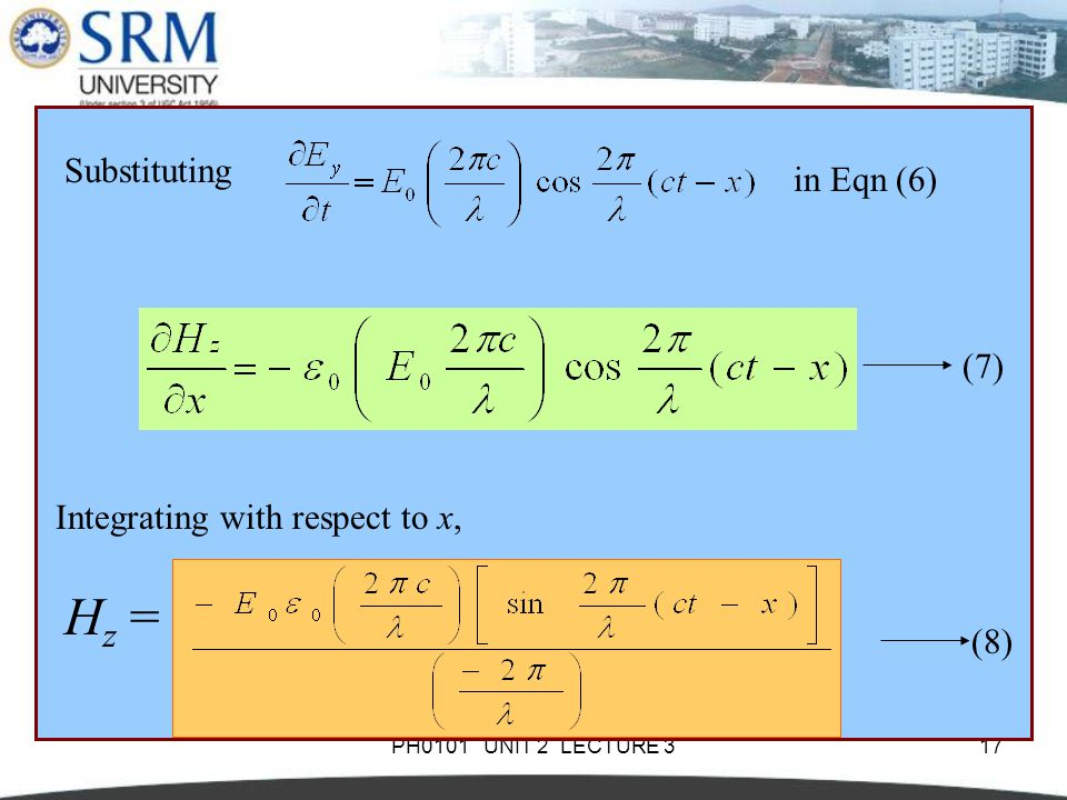 PH0101 UNIT 2 LECTURE 317 Substituting in Eqn (6) (7) Integrating with respect to x, H z = (8)