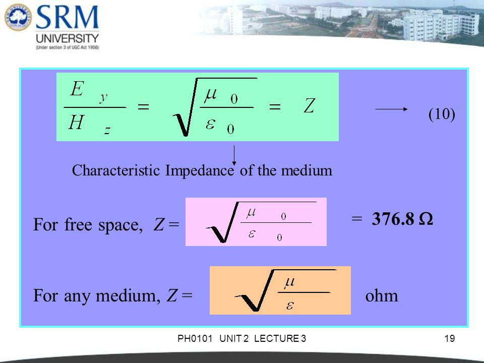 PH0101 UNIT 2 LECTURE 319 Characteristic Impedance of the medium (10) For free space, Z = = 376.8  For any medium, Z = ohm