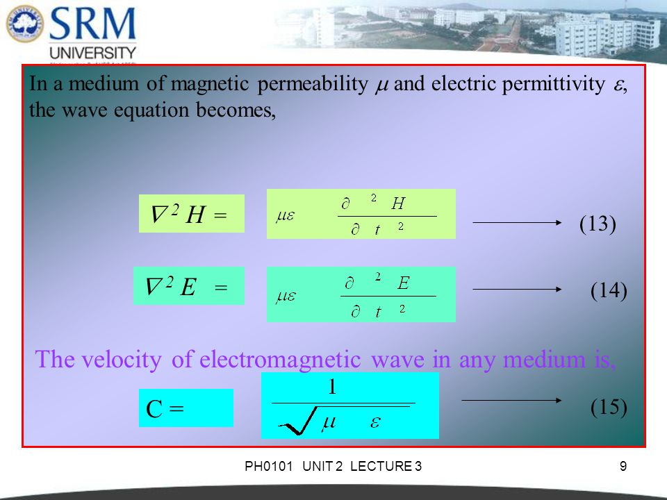 PH0101 UNIT 2 LECTURE 39 In a medium of magnetic permeability  and electric permittivity , the wave equation becomes,  2 H =  2 E = (13) (14) The velocity of electromagnetic wave in any medium is, C = (15)