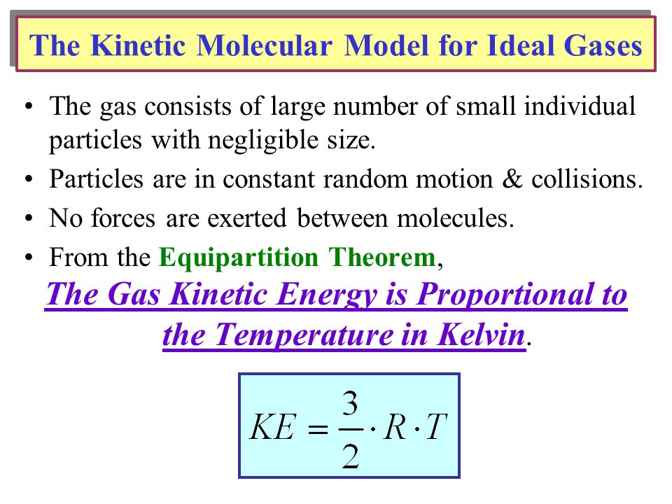 The Kinetic Molecular Model for Ideal Gases The gas consists of large number of small individual particles with negligible size.