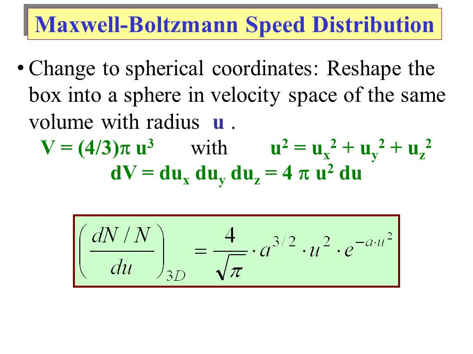 Change to spherical coordinates: Reshape the box into a sphere in velocity space of the same volume with radius u.