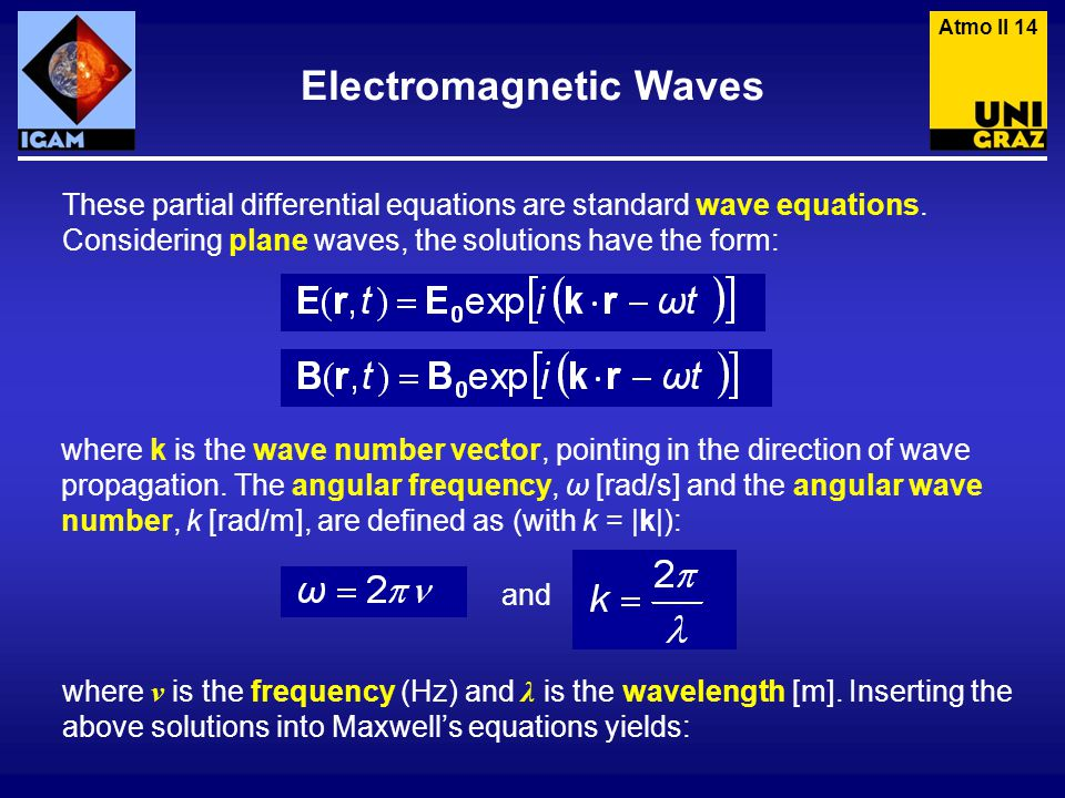 These partial differential equations are standard wave equations.