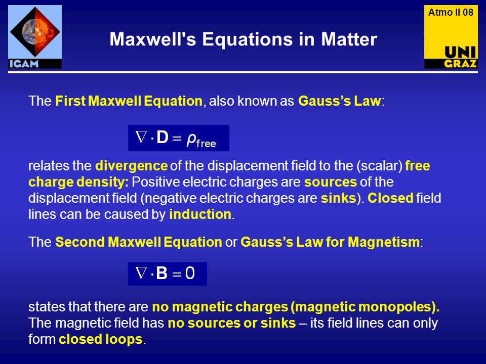 Maxwell s Equations in Matter The Third Maxwell Equation, or Faraday's Law of Induction: describes how a time-varying magnetic field causes an electric field (induction).