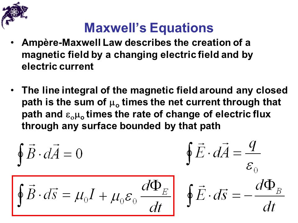 Maxwell's Equations Ampère-Maxwell Law describes the creation of a magnetic field by a changing electric field and by electric current The line integr